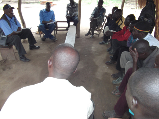 from the UN Department of Safety and Security meet land owners from Lakang and Kololo in Amuru district over land disputes between them, the government and investors. Photo by Sam Lawino