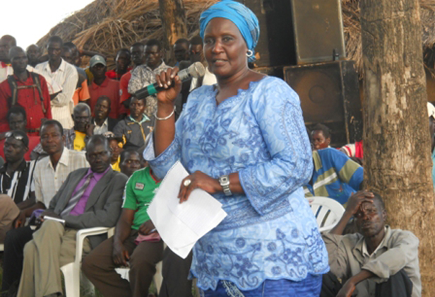 Minister Amelia Kyambade addresses local residents in Lakang last Friday