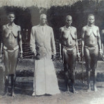 Puranga chief Rwot Andrea Olal Adiri and his wives dressed in Cenu, acholi traditional wears