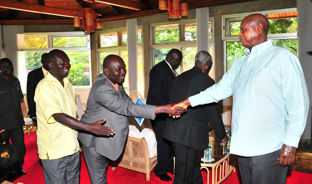 President Museveni welcomes local leaders from Amuru at state house Nakasero