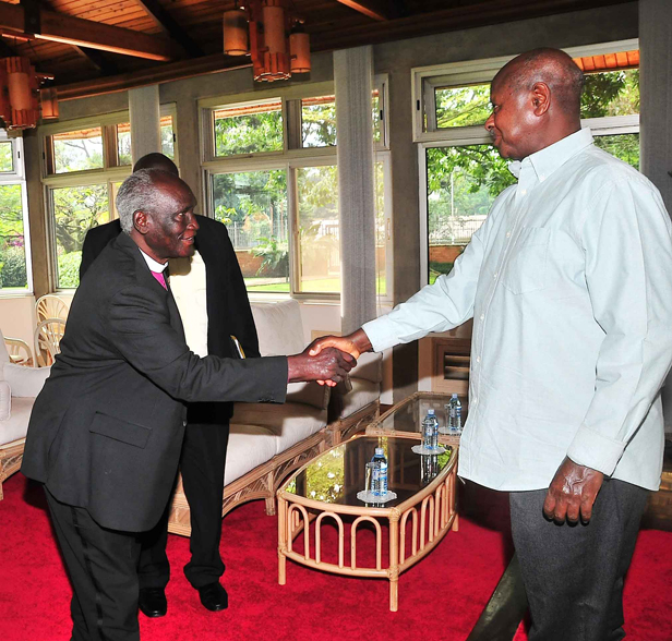 Bishop Ochola talks to President Museveni