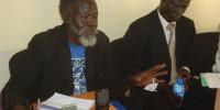 71-year-old Venterino Okidi Lumiromoi, a male rape survivor from Kitgum addresses the press at the Northern Uganda Media Club (NUMEC) offices in Gulu
