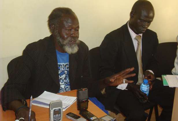 71-year-old Venterino Okidi Lumiromoi, a male rape survivor from Kitgum addresses the press at the Northern Uganda Media Club (NUMEC) offices in Gulu