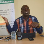 Kilak MP Gilbert Olanya during a press briefing at Northern Uganda Media Club (NUMEC) media facility in Gulu town recently. Photo by James Owich