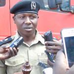 Martin Okoyo, the District Police Commander Gulu displaying fake bomb to Press on Wednesday