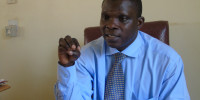 Dr Robert Ongom, the Gulu acting District Health Officer addressing the press in his office on Monday. Photo by James Owich