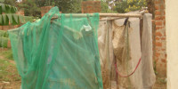 An insecticide treated mosquito nets distributed by the government through the Ministry of Health under the Malaria Control Program being used as material for Building showers in a suburb of Gulu town
