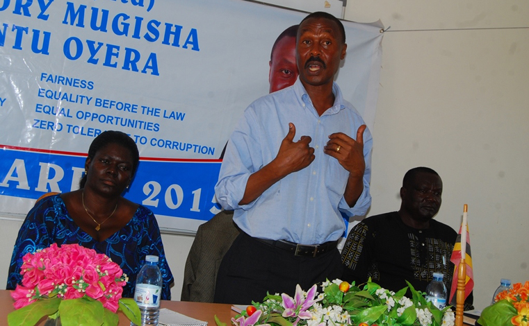 Maj Gen Mugisha Muntu while speaking to FDC party Delegates at Paragon Guest House Conference center on Saturday. He said he won't be bothered by being called a mole. PHOTO BY DENIS OTIM