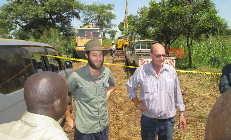 Rowan Dignam and Bill Willmott at one of the sites in Akilikongo village