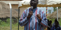 Reagan Okumu, the Member of Parliament for Aswa County in Gulu district addressing residents of Teepwoyo village, Unyama Sub County recently
