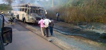 Pilgrims Escape unhurt after Bus Catches Fire