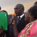 Omona Jackson swears in as Kitgum LC5 chairman on Wednesday.