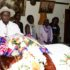 President lays wreath on Odonga`s casket. (PPU photo)